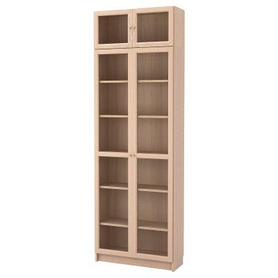 billy / oxberg комбінація книжкових шаф з надставкою та скляними дверцятами