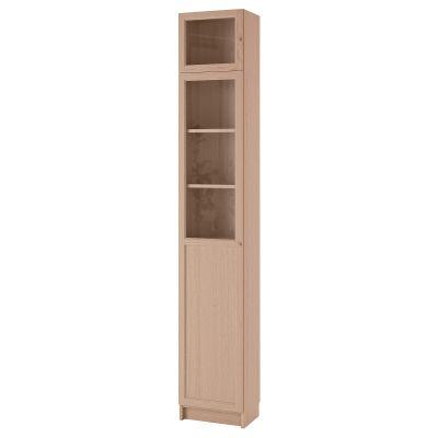billy / oxberg книжкова шафа з надставкою та панель/скляні дверцята