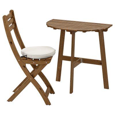 askholmen стіл стінний і 1 складний стілець